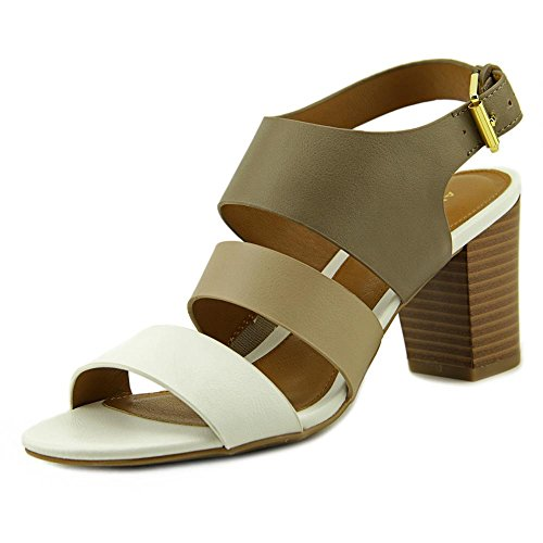 Amerikaanse Womens Wakely Open Teen Enkelband Platform Pumps Wit / Bone / Taupe