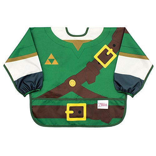 Bumkins Nintendo Zelda Sleeved Bib / Baby Bib / Toddler Bib / Smock, Waterproof, Washable, Stain and Odor Resistant, 6-24 Months -