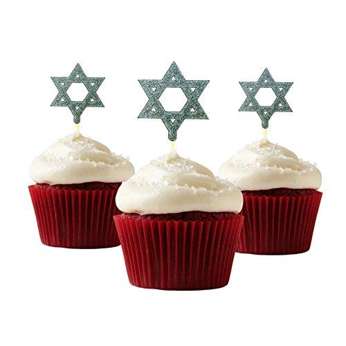Star David Cake Of (Star of David Silhouette Cupcake Topper 12 pieces per Pack Cupcake Topper Decoration Card Stock Silver)