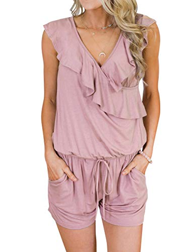 TECREW Women's Summer V Neck Ruffles Sleeveless Jumpsuit Elastic Waist Short Rompers with Pockets Pink