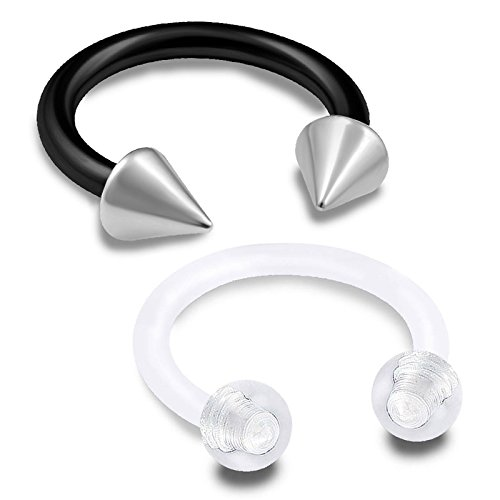 2Pcs 16g Horseshoe Ring Circular Barbell Cartilage Hoop Septum Nose Lip Eyebrow Spider Bite Tragus Black Stud Ear - 8mm