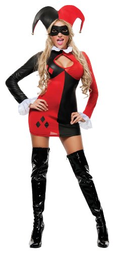 Starline Women's Harley-Quinn Sexy 3 Piece Cosplay Costume Dress Set, Red/Black, Medium - Sexy Harley Quinn Costumes