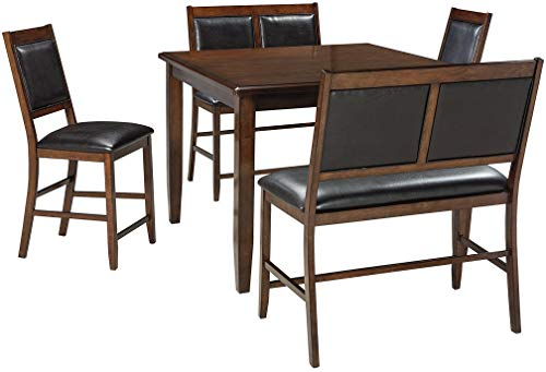 Ashley Furniture Signature Design - Meredy Counter Height Dining Room Table and Bar Stools (Set of 5) - Brown ()