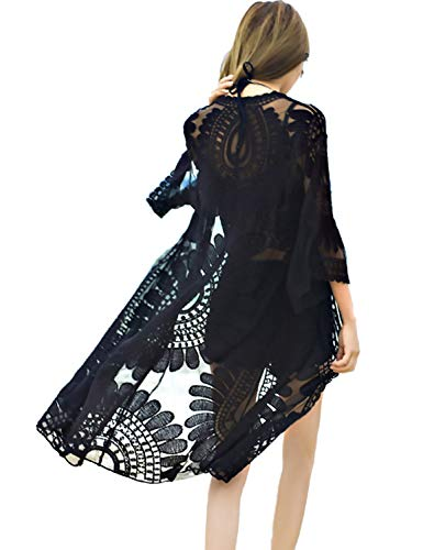 shermie Women's Floral Crochet Lace Beach Swimsuit Cover Ups Long Kimono Cardigan Black