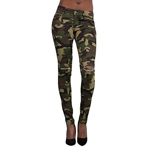 - Orangeskycn Women Middle Waisted Skinny Jeans Stretch Camouflage Holel Pants