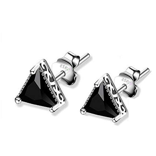 925 Sterling Silver Diamond Cut Face Black Onyx Agate Triangle Charm Piercing Stud Post Earrings