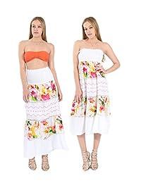 Village Venture Falda/Vestido Estampado Floral con Encaje Fresca y Casual 100% Algodón (Unitalla, Naranja) Mod 150