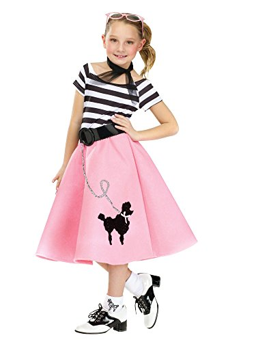 Girls Sock Hop Sweetie Costumes (50's Soda Shop Sweetie Child Poodle Skirt Costume Multicolor/Large (12-14))