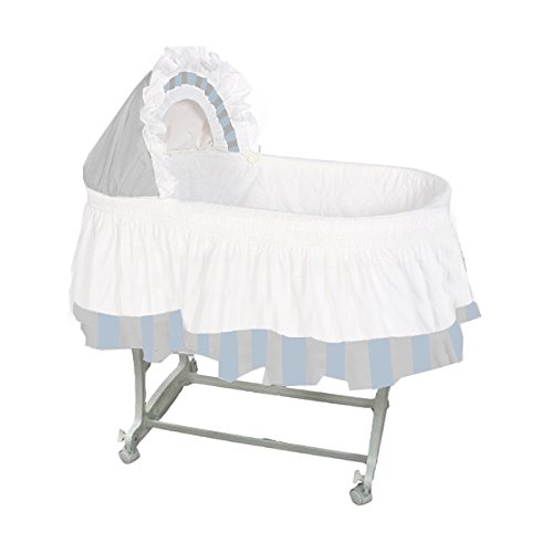 aBaby Color Block Bassinet Skirt, Grey/Pastel Blue/White, Large