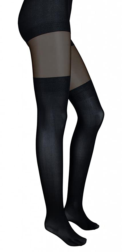 bf4f811dc Intimate Portal Women s Fake-it Thigh High Opaque Tights Black Sheer at  Amazon Women s Clothing store  Fake Garters
