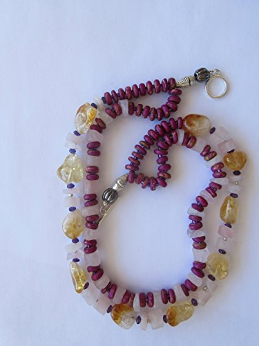 Hand Beaded Two Strand Neklace with Rose Quartz Rounds and Citrine Nuggets, Dyed Wood Roundels and Seed Beads by (Quartz Roundel)