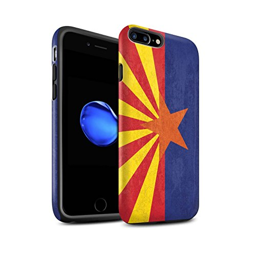 STUFF4 Matte Tough Shock Proof Phone Case for Apple iPhone 7 Plus/Arizona Design/Vintage USA State Flag - Arizona Collection
