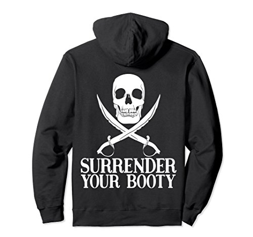 Unisex Surrender Your Booty Back Printed Pullover Hoodie Small Black