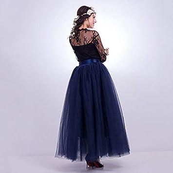 NVDKHXG Moda 7 Capas 100 cm Tulle Faldas de Boda Mujeres Falda ...