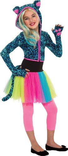 Neon Leopard Hoodie Costume, Small - Leopard Hoodie Girls Costumes