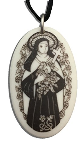 (Patron Saints St Therese Porcelain Oval Medal on Braided Cord of Missionaries, AIDS Patients)