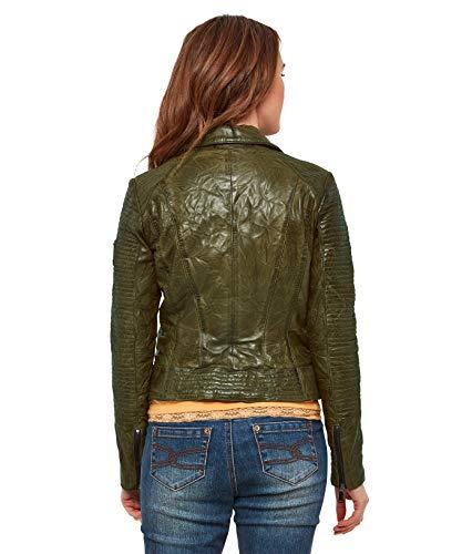 915883e52 Joe Browns Womens Zip Up Shoulder Panel Leather Jacket Green 16