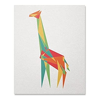 Geometric Giraffe Art Print Cool Colorful Animal Safari Triangle Shapes Wall Poster Wildlife Illustration Home Decor 8 x 10 inches