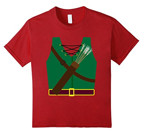 Kids Archer Costume Halloween Tshirt - Funny Archery Arrow Gift 10 Cranberry