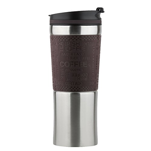 One Handed Open to Drink Vacuum Insulated Travel Mug Thermos Flask Double...