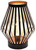 JHY DESIGN 8.7in Tall Metal Cage LED Lantern Battery Powered,Cordless Accent Light with LED Edsion Style Bulb.Great for…