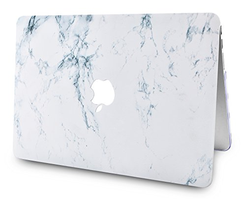 "KECC Laptop Case for MacBook Air 13"" w/Keyboard Cover Plastic Hard Shell Case A1466/A1369 2 in 1 Bundle (White Marble)"