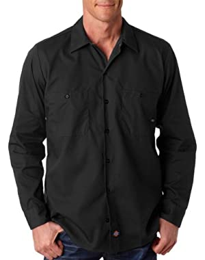 Men's Mitered Pockets Industrial Poplin Work Shirt, Black, XX-Large