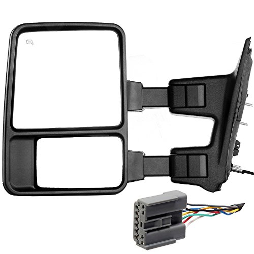 SCITOO Ford Towing Mirror Driver Side Rear View Mirror for 2003-2007 Ford F-250 F-350 F-450 F-550 Super Duty with Power Control Heated Manual Telescoping Manual Folding and Turn Signal Light Feature