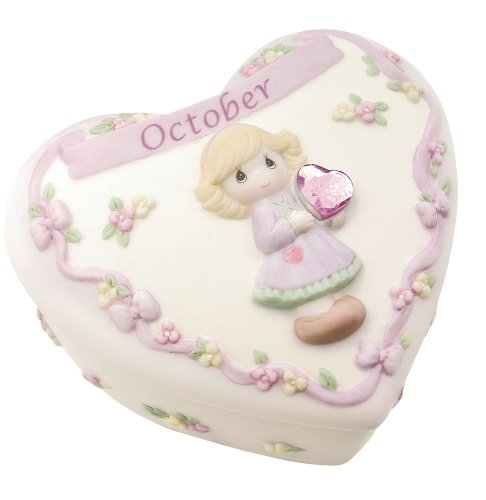 Precious Moments Birthday Heart Covered Box - October