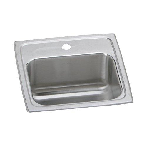 (Elkay Lustertone BLR151 Single Bowl Top Mount Stainless Steel Bar Sink)