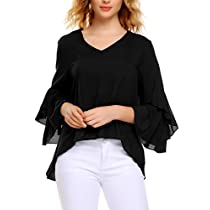 Meaneor Womens Loose Solid Blouses V Neck 3/4 Flare Sleeve Shirts Tops