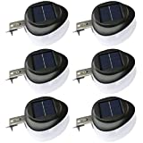SMARUP LED Solar Gutter Lights Outdoor 9LED 6Pack Fence Roof Gutter Garden Yard Wall Lamp with Auto On/Off Cool White