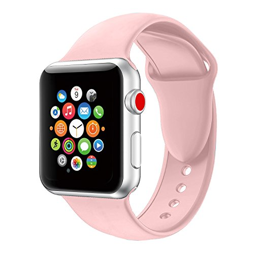 Youther For Apple Watch Bands, Soft Silicone Strap Replacement Wristbands for Apple Watch Sport Series 3 Series 2 Series 1 Pink 38mm M/L