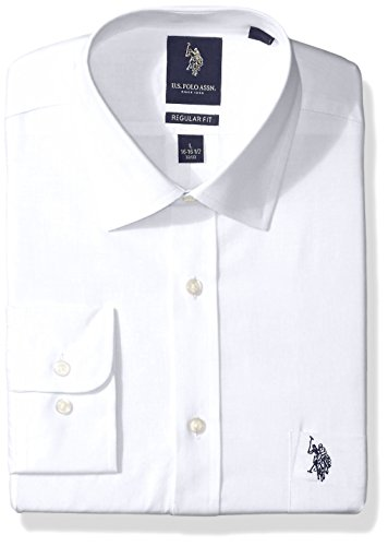 U.S. Polo Assn. Men's Regular Fit Solid Semi Spread Collar Dress Shirt, Solid Broadcloth White, 16.5