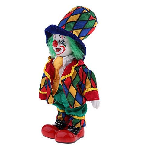 Prettyia 18cm Funny Clown Porcelain Joker Doll Halloween Decoration Ornaments Home Table Desk Top Decor #2 (Collectible Porcelain Clown Doll)