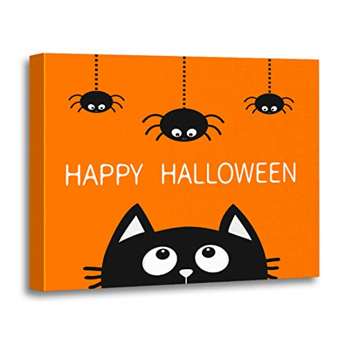Tinmun Painting Canvas Artwork Wooden Frame Happy Halloween Black Cat Face Head Silhouette Looking Up 16x20 inches Decorative Home Wall Art