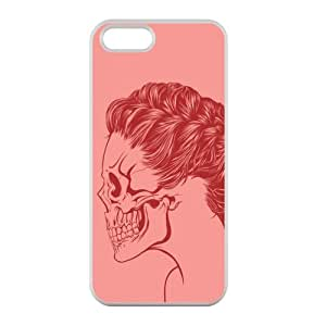 Custom Stylish Skull Girl Red Color Printed Design TPU Protective Case for iPhone 5 5S Casehome-02345