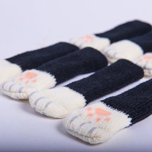 16 Chair Socks with Cat Paw Design - The Originals! Cute Floor (Black Cat Tile)