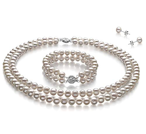 Juliane White 6-7mm Double Strand A Quality Freshwater Cultured Pearl Set for Women-16 in Chocker Length