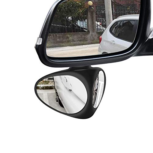 SPAZEL Car Blind Spot Mirror, Automotive 360 Rotate Adjustable Stick-on Front/Rear View Mirrors for Traffic Safety (Left,Black 1 Pack with 2 Pack Car Rearview Mirror Film)