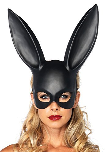 Masquerade Rabbit Mask Costume Halloween Bunny Ears Black One Size Womens (Bunny For Halloween)