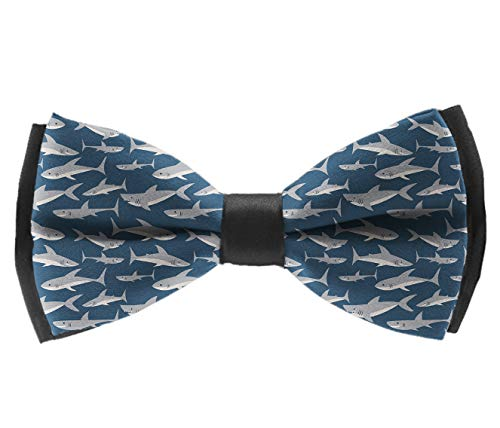 Casual And Formal Pre-Tied Bow Ties - Cute Shark Print Eco Friendly - Banquet Rave Party Tuxedo Creative Bow Ties, Adjustable Elegant Bow -