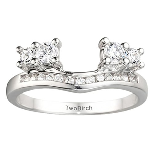 Cubic Zirconia Solitaire Enhancer Wedding Ring Mounted in Silver(0.41Ct) Size 3 to 15 in 1/4 Size Interval
