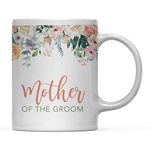 - Andaz Press 11oz. Wedding Coffee Mug Gift, Peach Flowers Florals Roses, Mother of The Groom, 1-Pack, Bridal Shower Birthday Christmas Thank You Gift for Her