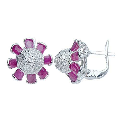 Art Deco Natural Rare African Red Ruby Gemstones 925 Sterling Silver Earrings ()