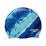 Speedo Unisex-Adult Swim Cap Silicone Elastomeric , Blue Atoll Multi