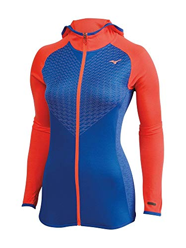 Mizuno Running Women's Breath Thermo Double Knit Full Zip Hoodie, Small, Dazzling Blue/Fiery Coral ()