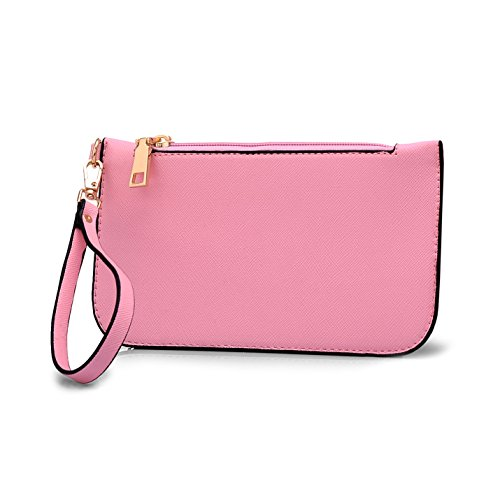 3 Shoulder Handbag Bag amp; for PU Leather Pink pcs Elegant Set Women Stylish cross Bag purse Body Work RU64qnXI