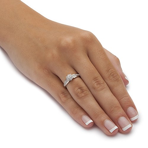 10K White Gold 1/4 cttw Round Diamond Halo Engagement Anniversary Ring (HI Color, I3 Clarity)