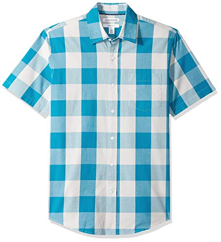 Poplin Check Shirt - Amazon Essentials Men's Slim-Fit Short-Sleeve Check Casual Poplin Shirt, Teal Buffalo, X-Large